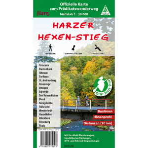 Titelbild der offiziellen Wanderkarte Harzer Hexen-Stieg