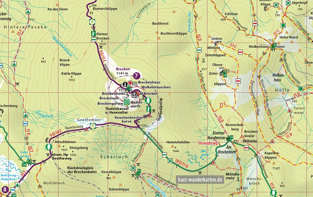 """Kartenbild der Wander- und Fahrradkarte """"Harzer Grenzweg"""""""