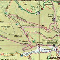 """Kartenbild der Wander- und Fahrradkarte """"Hochharz – Rund um den Brocken"""""""