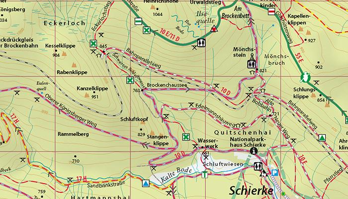 """Kartenbild der Wander- und Fahrradkarte """"Hochharz - Rund um den Brocken"""""""