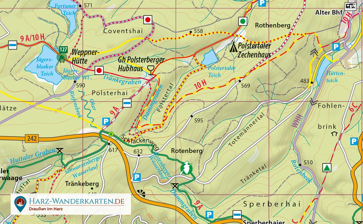 """Kartenbild der Wander- und Fahrradkarte """"Der Oberharz"""""""