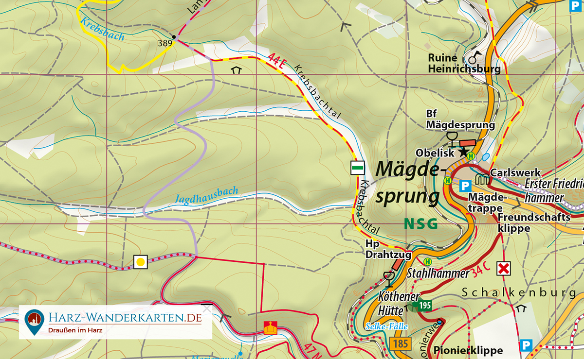 """Kartenbild der Wander- und Fahrradkarte """"Der Ostharz"""""""