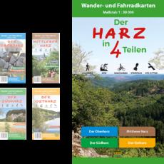 """Titelbild des Wander- und Fahrradkarten-Sets """"Der Harz in 4 Teilen"""""""