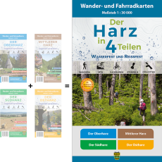 """Titelbild des Wander- und Fahrradkarten-Sets """"Der Harz in 4 Teilen wasserfest und reißfest"""""""