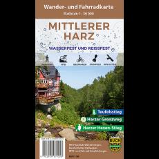 """Titelbild der Wander- und Fahrradkarte """"Mittlerer Harz wasserfest und reißfest"""""""