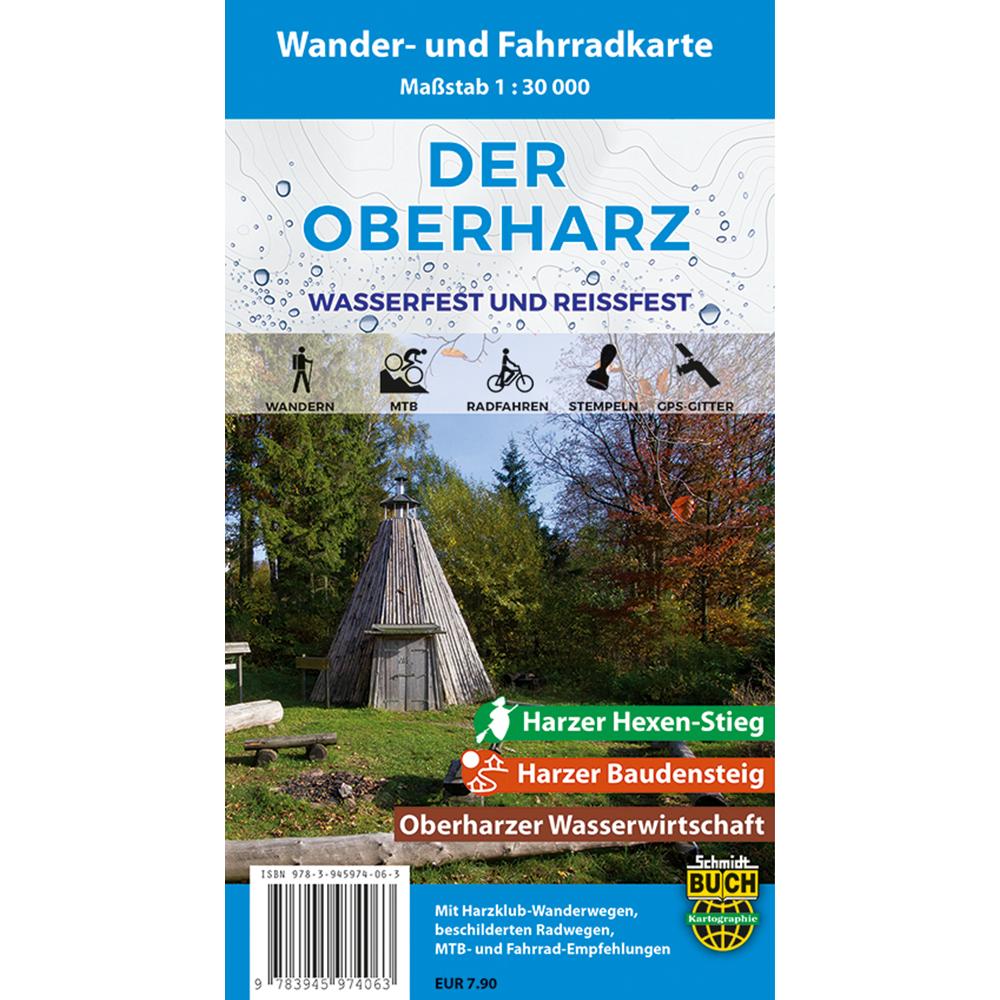 """Titelbild der Wander- und Fahrradkarte """"Der Oberharz wasserfest und reißfest"""""""