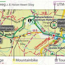 Kartografische Ausstattung der Wander- und Fahrradkarten im Maßstab 1:30.000
