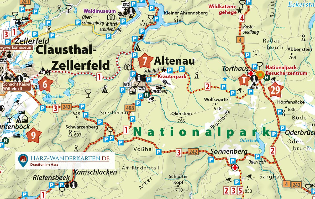 """Kartenbild der Auto- und Motorradkarte """"Luchskarte Harz"""""""