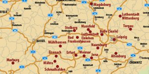 """Karte mit Lutherorten aus dem Reiseführer """"Martin Luther"""""""