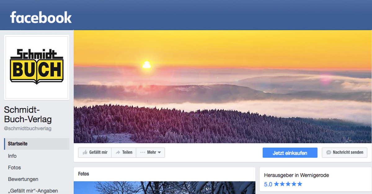Facebook-Seite des Schmidt-Buch-Verlags