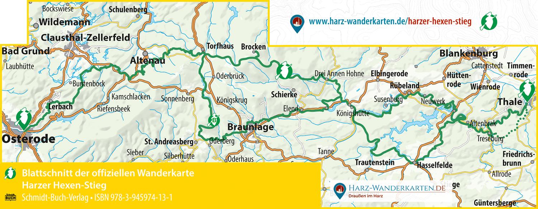 Blattschnitt der offiziellen Karte zum Harzer Hexen-Stieg (wetterfest)
