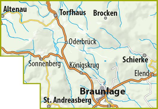 Das Gebiet der MTB-Trail-Karte Braunlage – Schierke – St. Andreasberg – Torfhaus