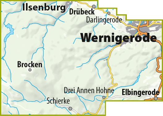 Blattschnitt der MTB-Trail-Karte Wernigerode - Ilsenburg - Schierke - Brocken