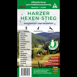 Titelbild der wasser- und reißfesten, offiziellen Wandkarte zum Harzer Hexen-Stieg