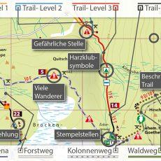 Kartografische Ausstattung der MTB-Trail-Karten Harz