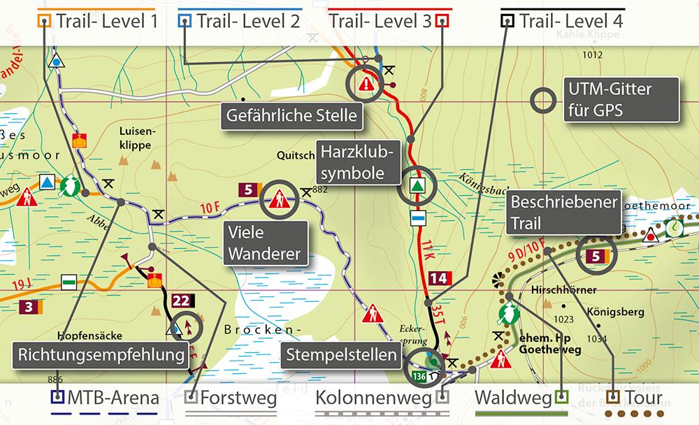Kartenbild der MTB-Trail-Karte Harz mit Erklärungen
