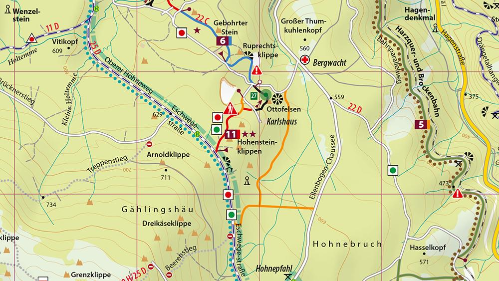 Kartenbildmuster der MTB-Trail-Karte Wernigerode - Ilsenburg - Schierke - Brocken