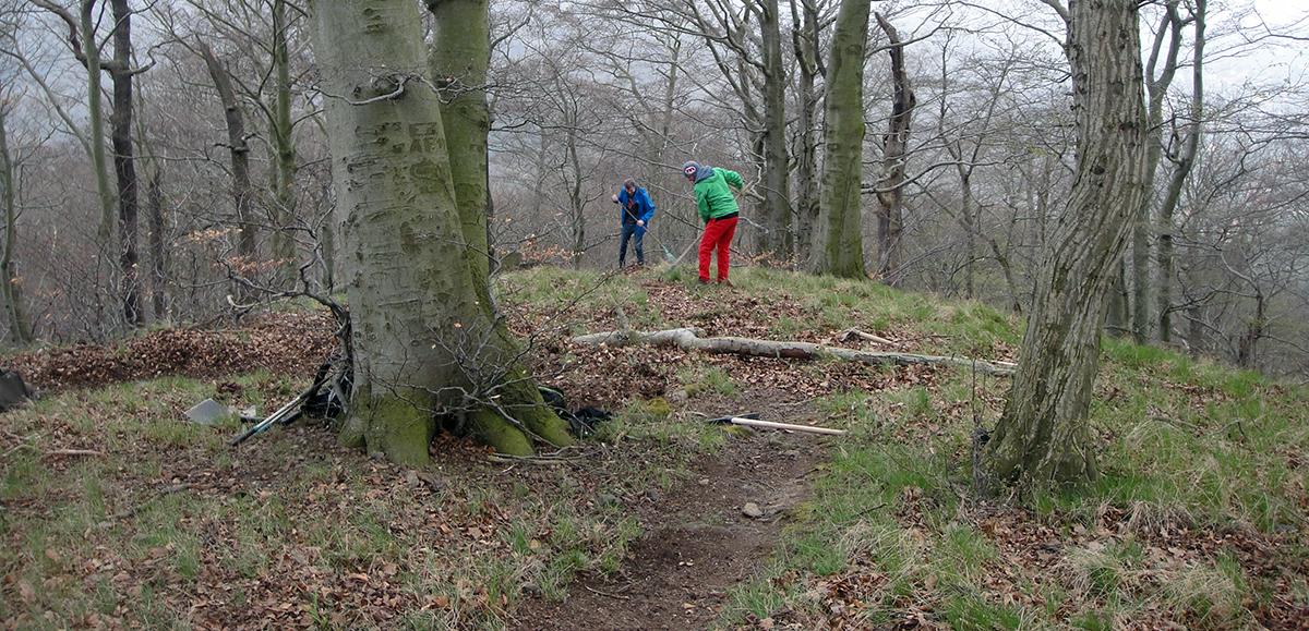 Mountainbiker und Wanderer beim Wegebau