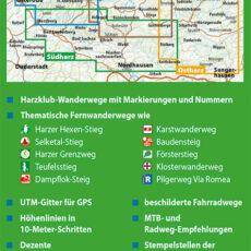 """Backcover des Wander- und Fahrradkarten-Sets """"Der Harz in 4 Teilen"""