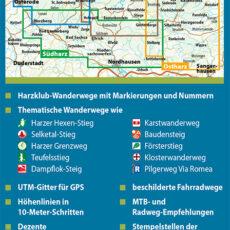 """Backcover des Wander- und Fahrradkarten-Sets """"Der Harz in 4 Teilen (wetterfest)"""""""