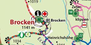 """Gipfeltouren-Karte aus dem Reiseführer """"Der Brocken"""""""