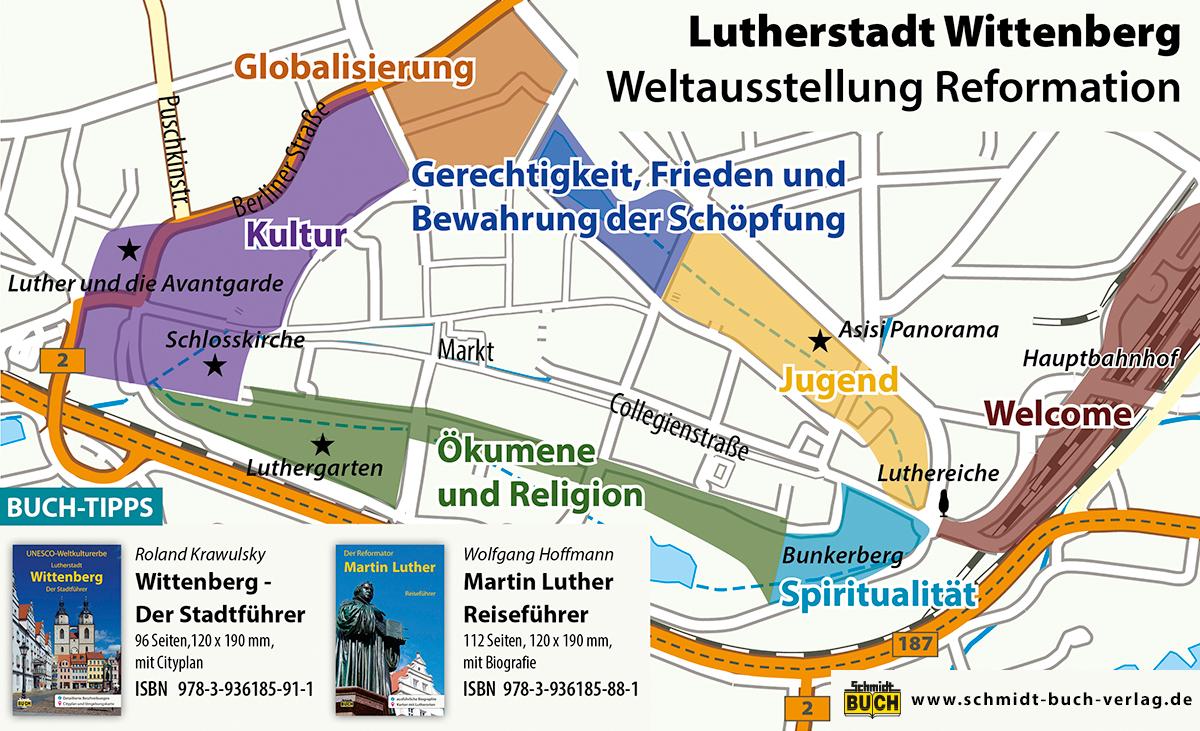 Karte der Weltausstellung Reformation in Lutherstadt Wittenberg