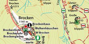 """Brocken-Wanderkarte aus dem Reiseführer """"Wernigerode - Der Stadtführer"""""""