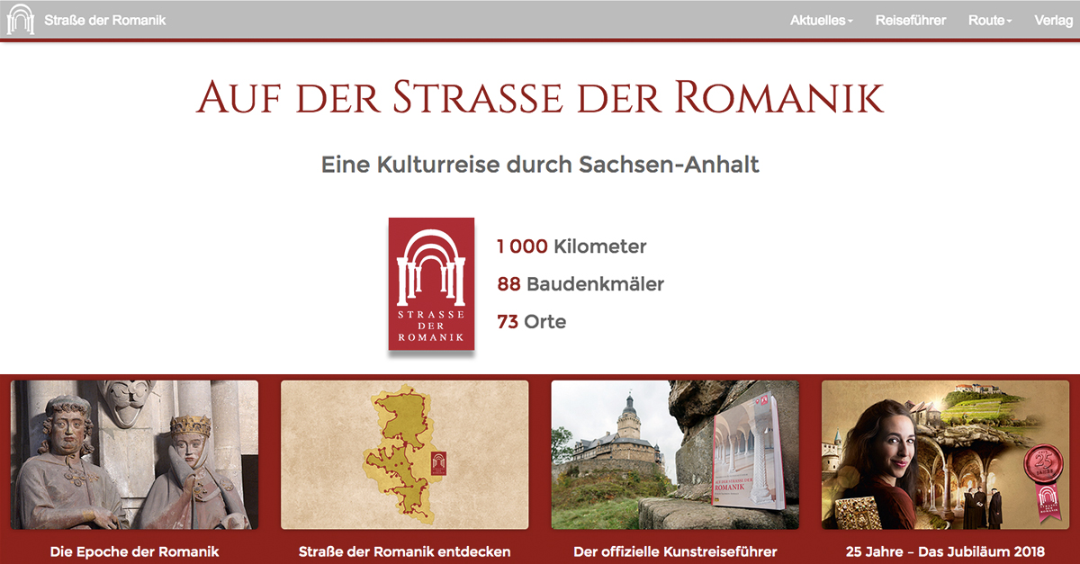 Screenshot der Website zur Romanik