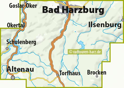 Blattschnitt MTB Karte Harz Bad Harzburg