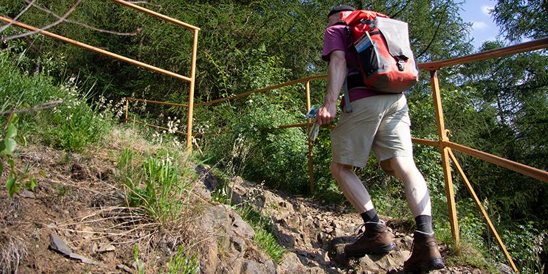 Ein Wanderer am Elversstein bei Wernigerode