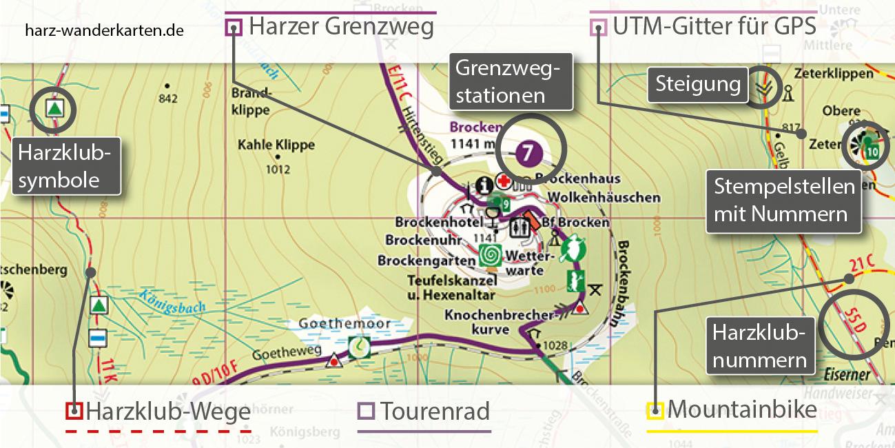 Kartografische Ausstattung der Wanderkarte Harzer Grenzweg