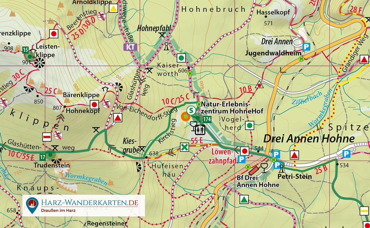 Kartenbild Wander- und Fahrradkarte Mittlerer Harz Wetterfest
