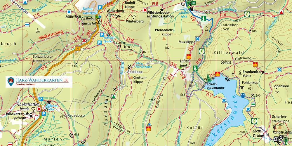 Kartenbildmuster Wanderkarte mit Stadtplan Wernigerode