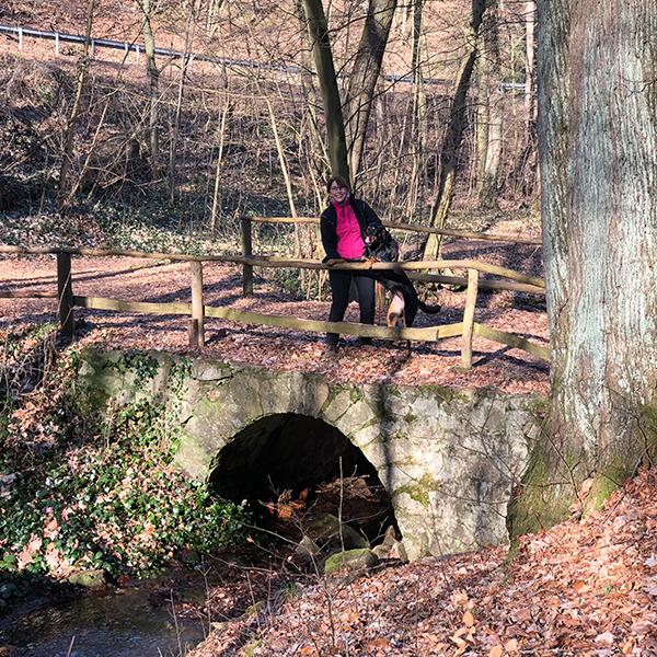 Eine Wanderin steht mit ihrem Hund auf einer Brücke im Harzer Wald