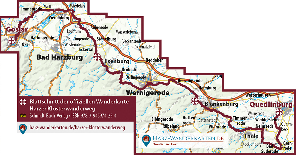 Blattschnitt der offiziellen Wanderkarte zum Harzer Klosterwanderweg