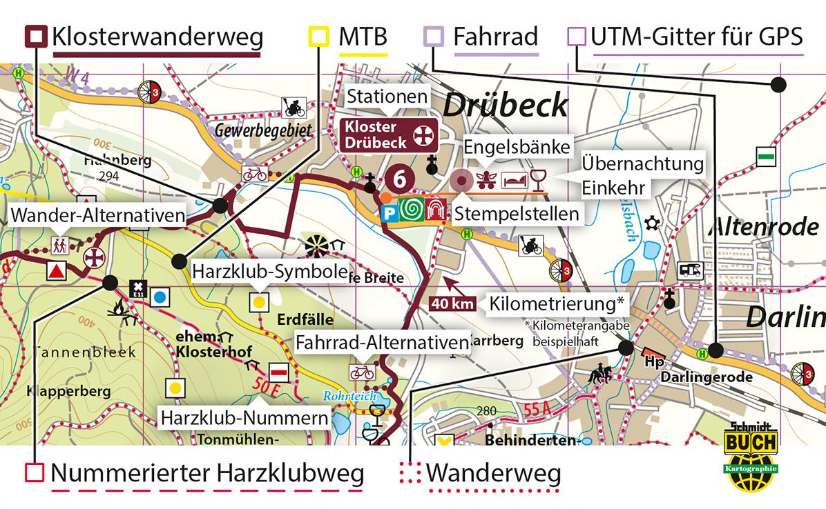Kartografische Ausstattung der offiziellen Wanderkarte zum Harzer Klosterwanderweg