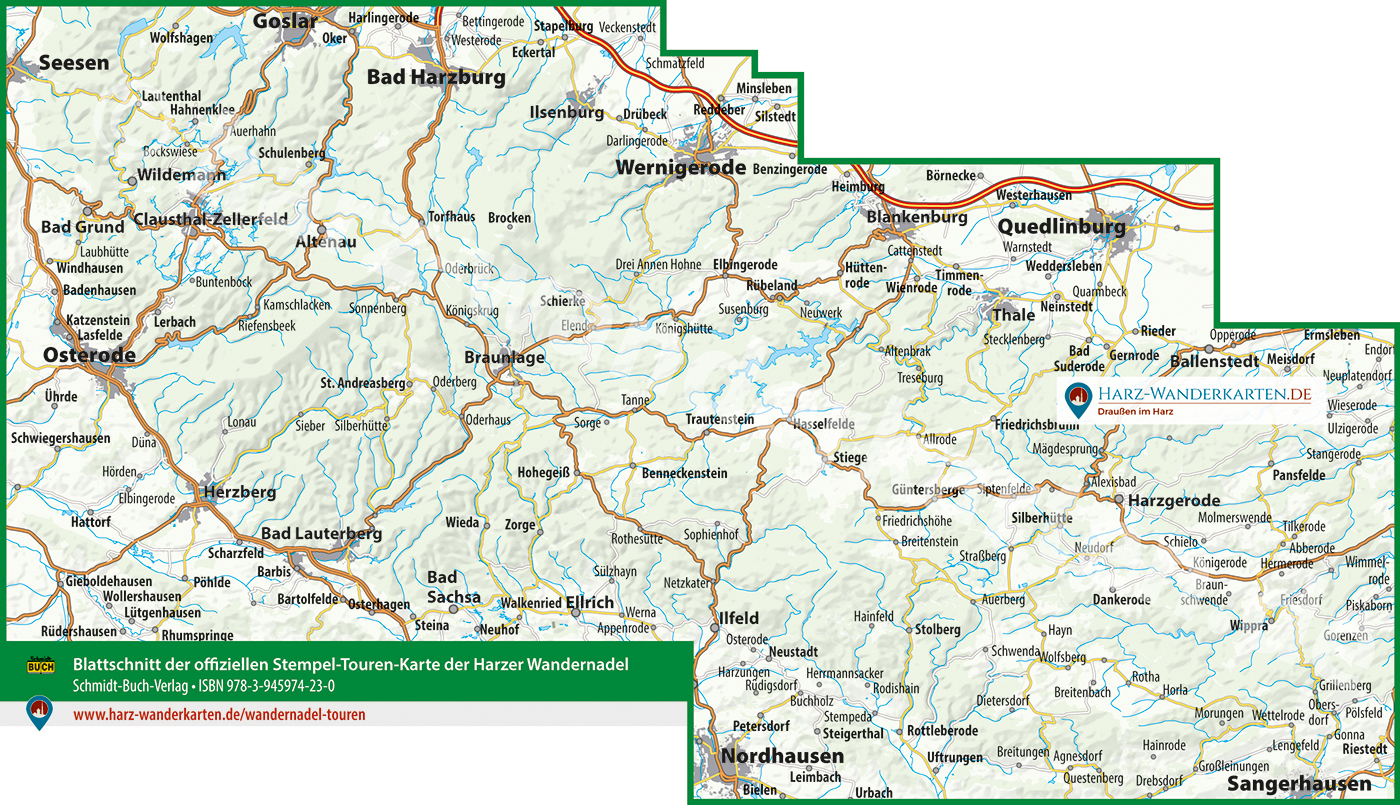 Blattschnitt der offiziellen Touren-Karte zur Harzer Wandernadel