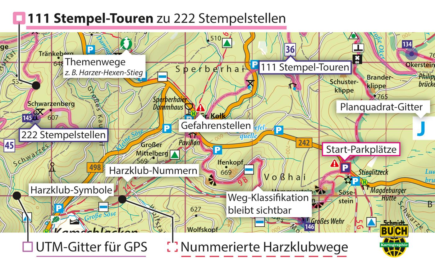 Kartografische Ausstattung der offiziellen Stempel-Touren-Karte zur Harzer Wandernadel