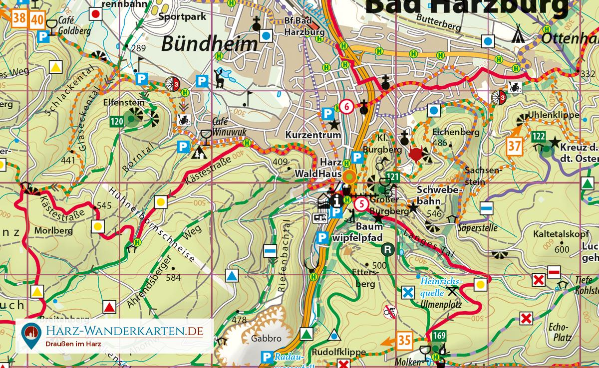 Kartenbild der Fahrradkarte Harz