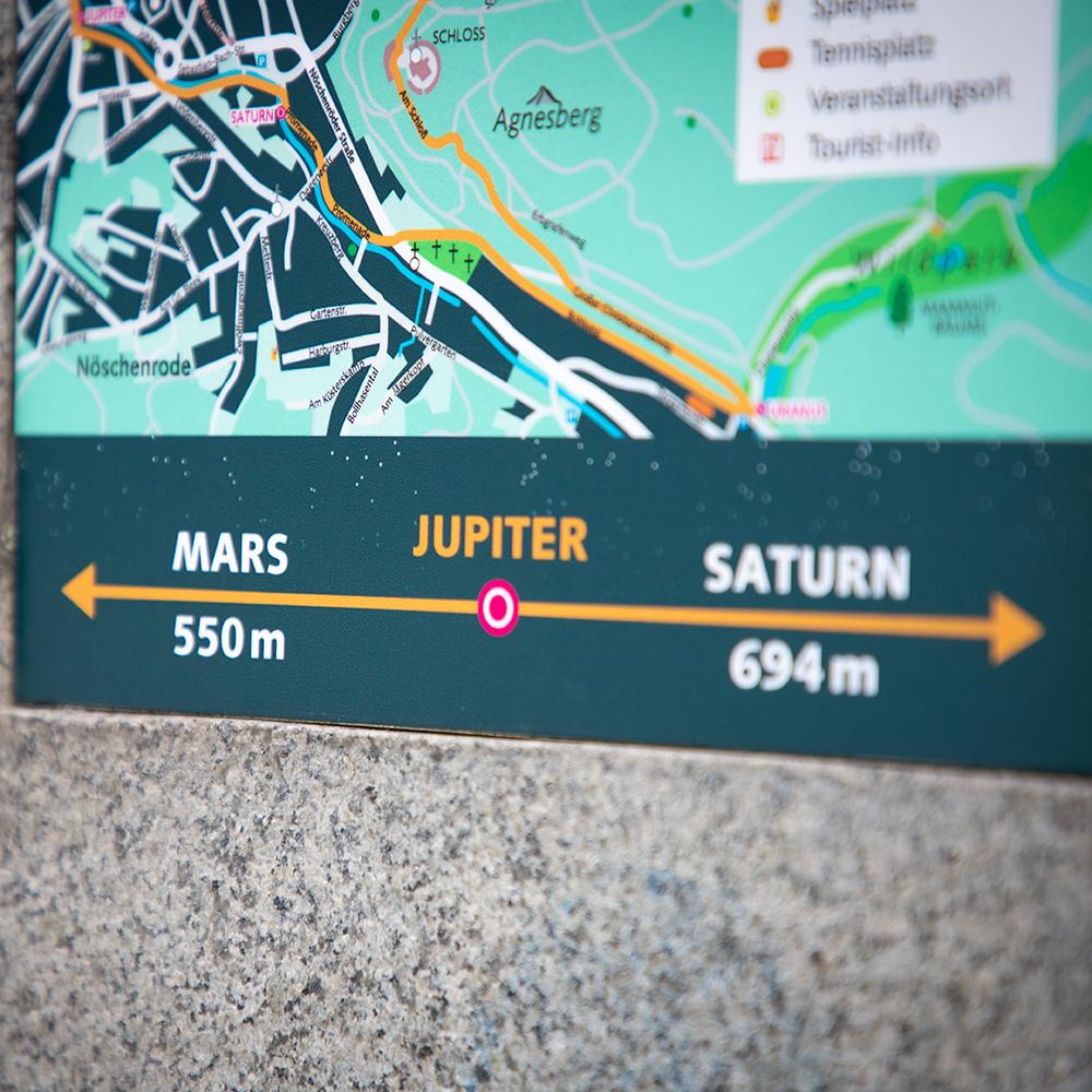 Die Entfernung zur nächsten Station wird auf einem Schild am Planetenweg Wernigerode angegeben.