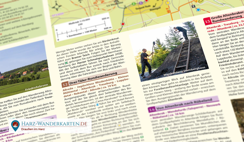 """Rückseite der Wanderkarte """"Bodetal"""" mit 15 beschriebenen Touren, einer Detailkarte und weiteren Infos."""
